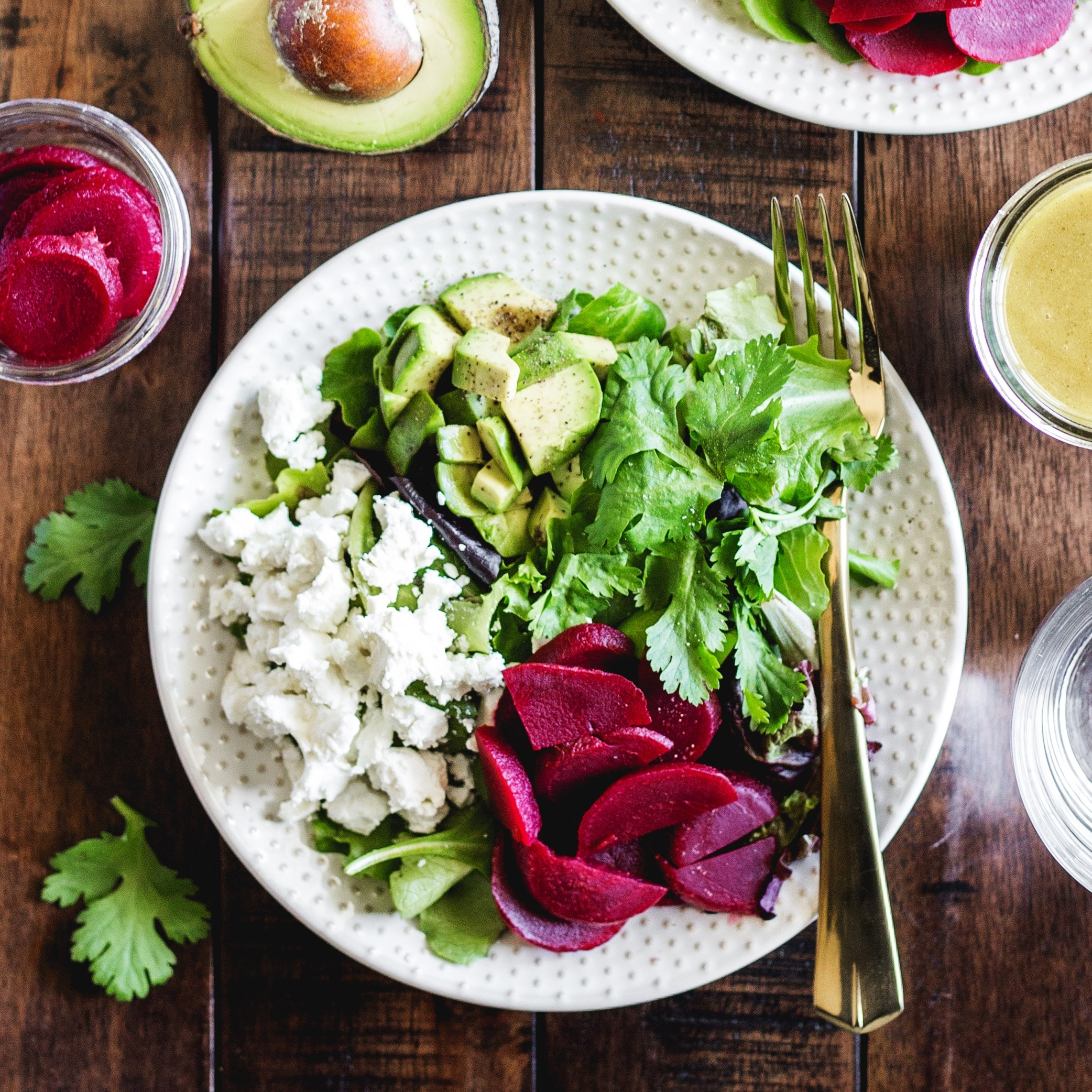Avocado Beet and Goat Cheese Salad with simple vinaigrette- an easy and delicious addition to your next meal!