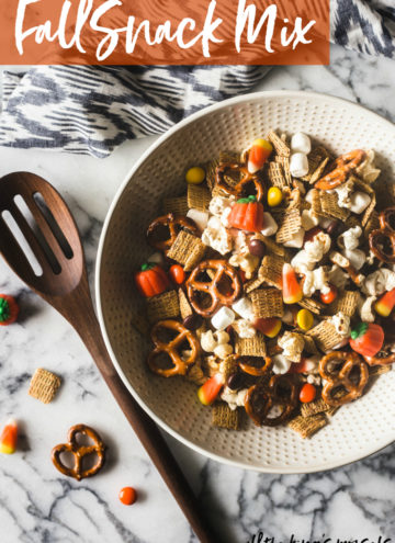 Easy five minute Fall Snack Mix. Great for Halloween, afternoon snacks, or anytime!