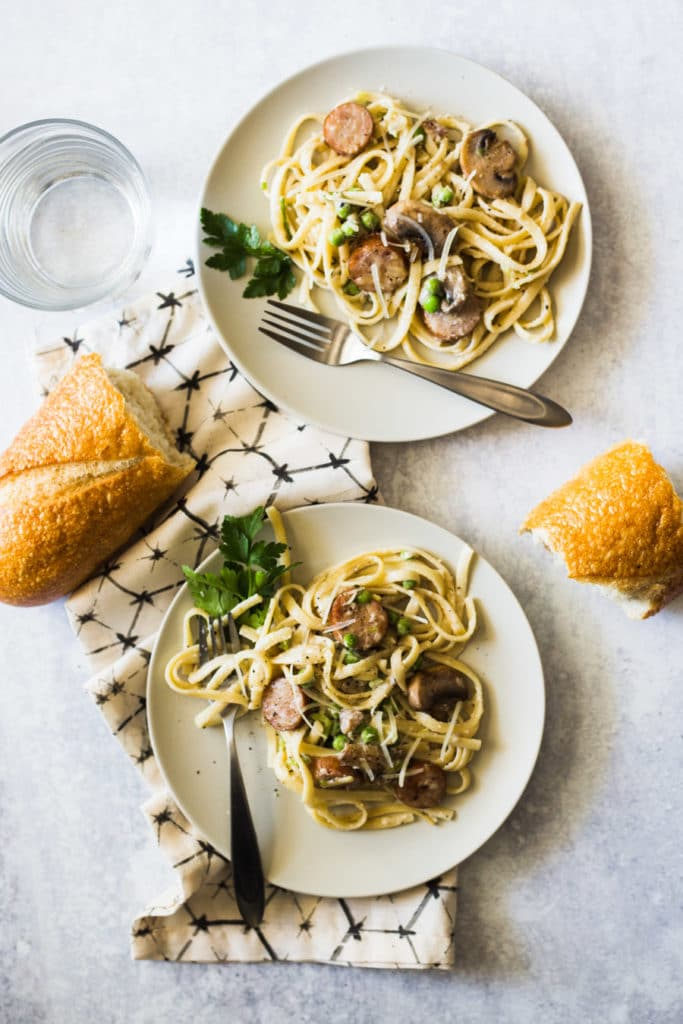 This creamy, decadent, and garlicky Apple Chicken Sausage Pasta is accented with mushrooms and peas and can be thrown together in just 30 minutes.
