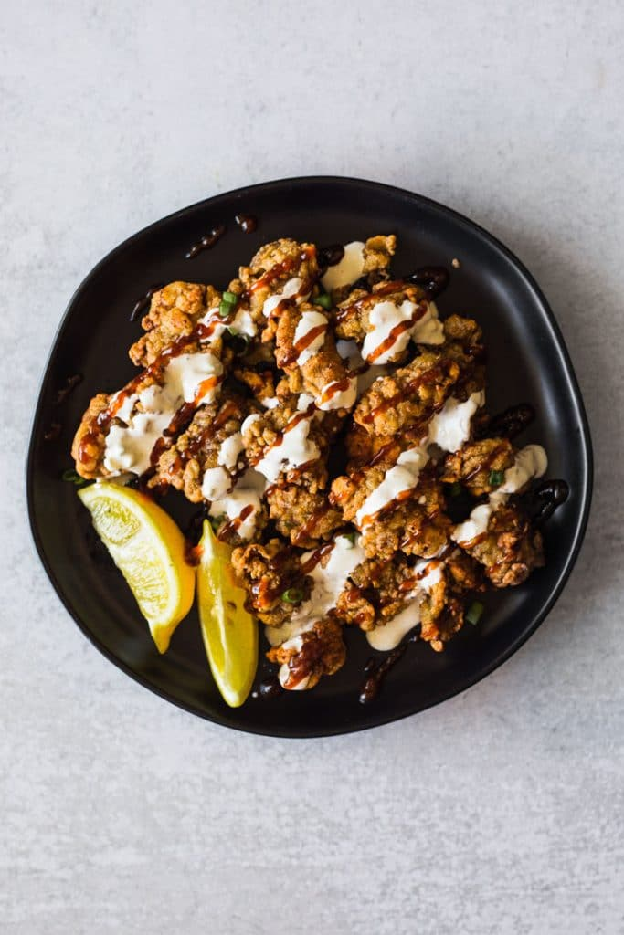 Fried Oysters with barbecue sauce and blue cheese dressing
