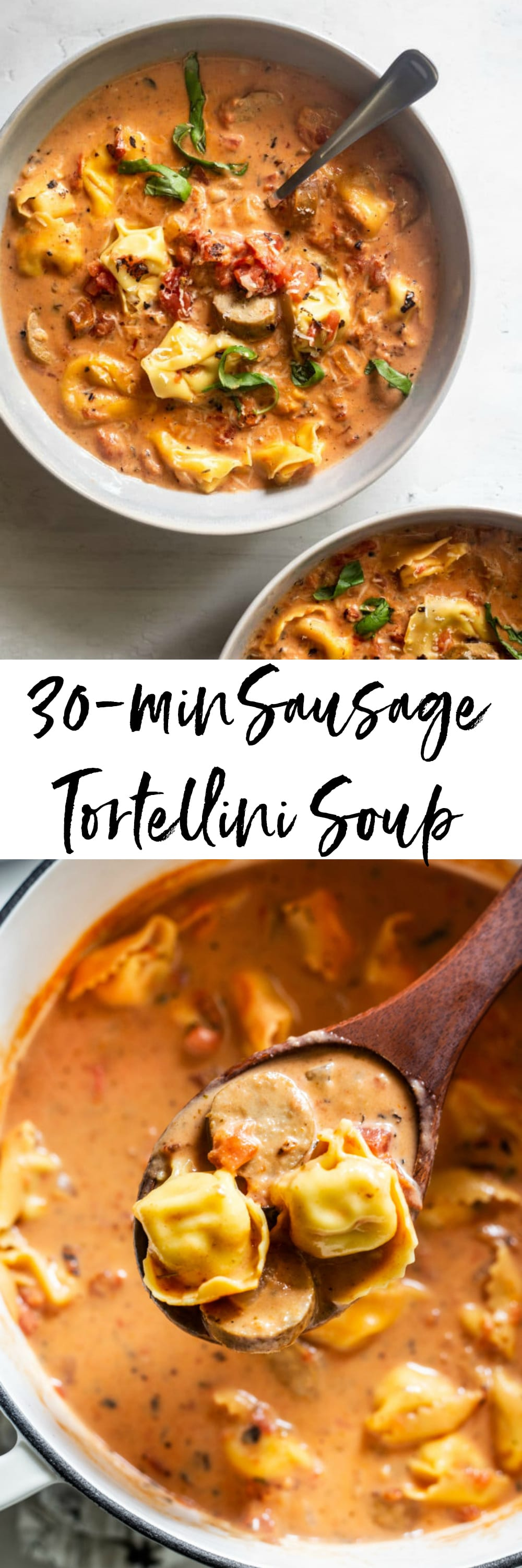 This Sausage Tortellini Soup comes together quickly with a rich and creamy tomato base, Italian chicken sausage and cheese tortellini.